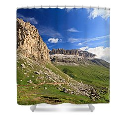 Shower Curtain featuring the photograph Sella Mountain And Pordoi Pass by Antonio Scarpi