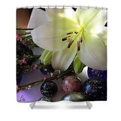 Shower Curtain featuring the photograph Send The Light Lily With Marbles by Bonnie Willis