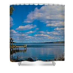 Seneca Lake At Glenora Point Shower Curtain by William Norton