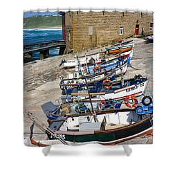 Sennen Cove Fishing Fleet Shower Curtain by Terri Waters