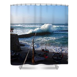 Sennen Cove Harbour Cornwall Shower Curtain by Terri Waters
