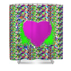 Shower Curtain featuring the photograph Sensual Pink Heart N Star Studded Background by Navin Joshi