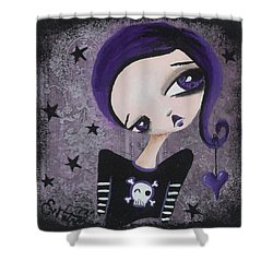 Sentimentally Deranged - Black Star Shower Curtain