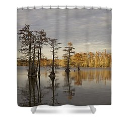Sentinels Of The Lake Shower Curtain by Jane Eleanor Nicholas