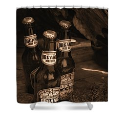 Shower Curtain featuring the photograph Sepia Bottles by Rachel Mirror