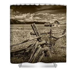 Sepia Colored Photo Of A Wood Fence By The John Moulton Farm Shower Curtain by Randall Nyhof