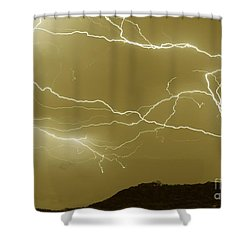 Sepia Converging Lightning Shower Curtain