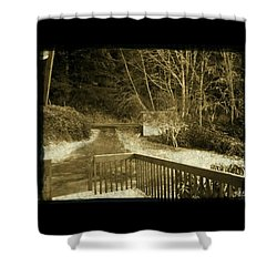 Shower Curtain featuring the photograph Sepia - Country Road First Snow by Absinthe Art By Michelle LeAnn Scott