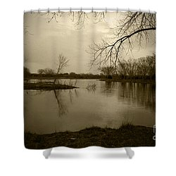 Sepia Lake Shower Curtain