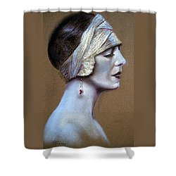 Sepia Siren Shower Curtain by Lynda Robinson