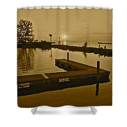 Sepia Sunset Shower Curtain by Frozen in Time Fine Art Photography