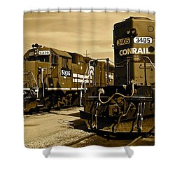 Sepia Trains Shower Curtain by Frozen in Time Fine Art Photography