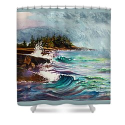 September Storm Lake Superior Shower Curtain
