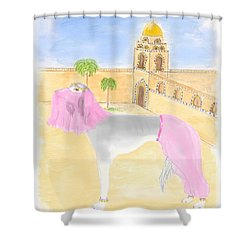 Shower Curtain featuring the painting Serena All Set For Arabian Nights by Stephanie Grant
