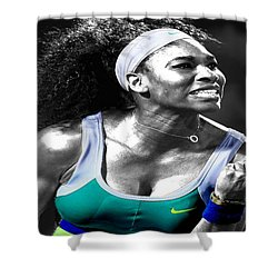 Serena Williams Ace Shower Curtain by Brian Reaves