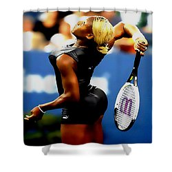 Serena Williams Catsuit II Shower Curtain by Brian Reaves