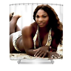 Serena Williams In The Sand Shower Curtain by Brian Reaves