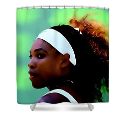 Serena Williams Match Point Shower Curtain by Brian Reaves