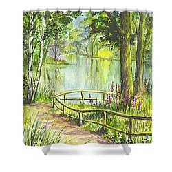 Shower Curtain featuring the painting Serendipity Stroll by Carol Wisniewski