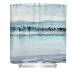 Serene Lake View Shower Curtain by Mickey Krause
