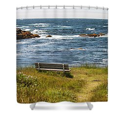 Serenity Bench Shower Curtain by Bev Conover