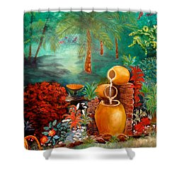 Shower Curtain featuring the painting Serenity by Jenny Lee