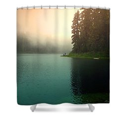 Serenity On Blue Lake Foggy Afternoon Shower Curtain by Joyce Dickens