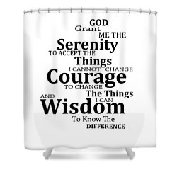 Serenity Prayer 6 - Simple Black And White Shower Curtain by Sharon Cummings