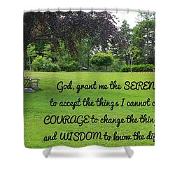 Serenity Prayer And Park Bench Shower Curtain by Barbara Griffin