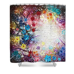 Serenity Prayer Shower Curtain by Patricia Lintner