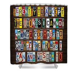Serenity Prayer Reinhold Niebuhr Recycled Vintage American License Plate Letter Art Shower Curtain by Design Turnpike