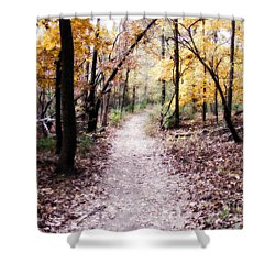 Shower Curtain featuring the photograph Serenity Walk In The Woods by Peggy Franz