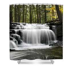 Serenity Waterfalls Landscape Shower Curtain by Christina Rollo