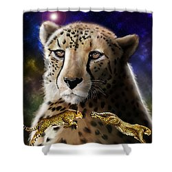 Shower Curtain featuring the digital art First In The Big Cat Series - Cheetah by Thomas J Herring