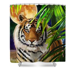 Shower Curtain featuring the painting Second In The Big Cat Series - Tiger by Thomas J Herring