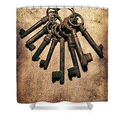 Set Of Old Rusty Keys On The Metal Surface Shower Curtain by Jaroslaw Blaminsky