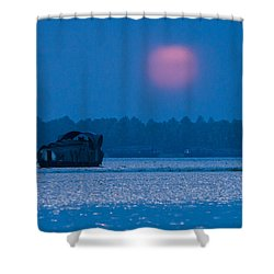 Setting Sun And Boat Shower Curtain