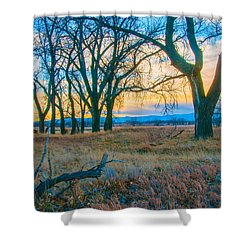 Setting Sun At Rocky Mountain Arsenal_1 Shower Curtain