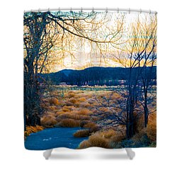 Setting Sun At Rocky Mountain Arsenal_2 Shower Curtain