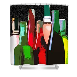Seven Bottles Of Wine On The Wall Shower Curtain by Elaine Plesser