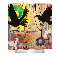 Seven Circling Crows Shower Curtain by Robin Maria Pedrero
