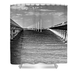 seven mile bridge BW Shower Curtain by Rudy Umans