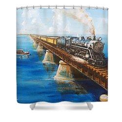 Seven Mile Bridge Shower Curtain by Christopher Jenkins