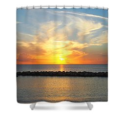 Seven Mile Sunset Over Grand Cayman Shower Curtain by Amy McDaniel