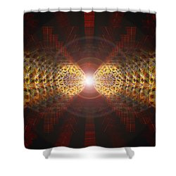 Shower Curtain featuring the drawing Seven Sacred Steps Of Light by Derek Gedney