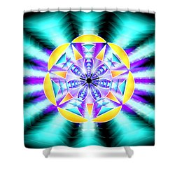 Shower Curtain featuring the drawing Seventh Ray Of Consciousness by Derek Gedney
