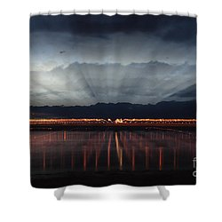 Severn Bridge Shower Curtain by Brian Roscorla