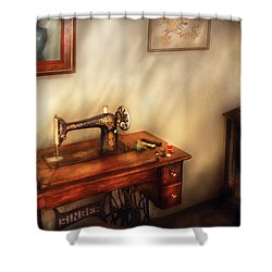 Sewing Machine - Sewing In A Cozy Room  Shower Curtain by Mike Savad