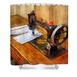 Sewing Machine With Orange Thread Shower Curtain by Susan Savad