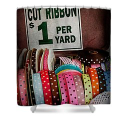 Sewing - Ribbon By The Yard Shower Curtain by Mike Savad